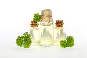 essential oil of parsley. parsley oil in a glass bottle and a sprig of fresh curly parsley on a white background