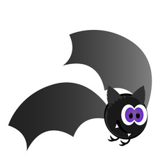 Isolated happy halloween bat on a white background, Vector illustration