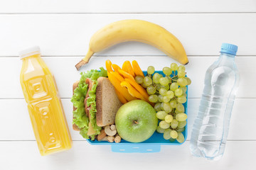 Lunch box with healthy food ready to eat.