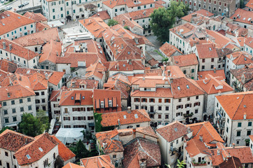 Aerial view of the old town in Kotor, Montenegro