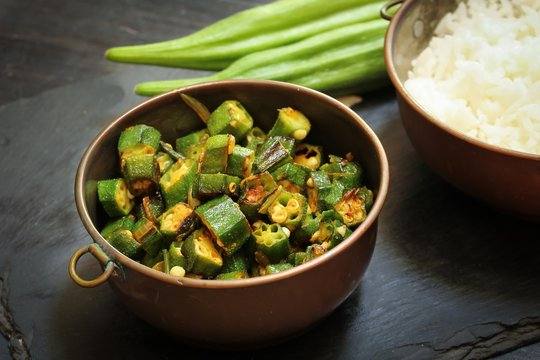 Okra fry / Bhindi Masala, selective focus