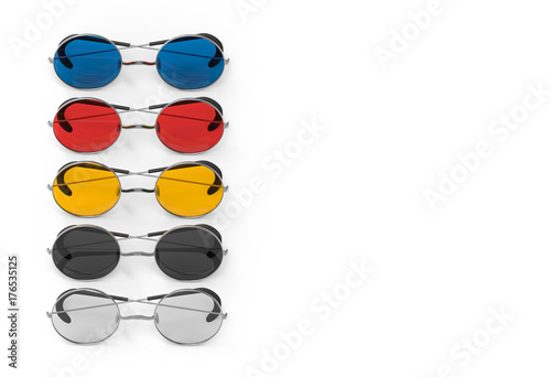 3d rendering  color circle lens eye glasses on white background with