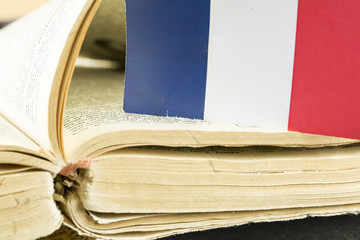 France Flag and French Book