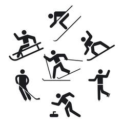Wintersport Piktogramm,, Schlittschuhlaufen, Skilaufen,