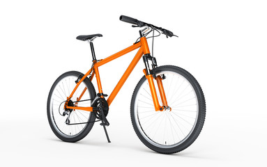 Orange sport bike looks to the right isolated on white background. Sport concept
