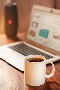White mug on the desktop