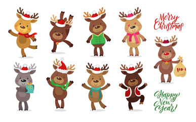 Santa's Reindeer Set. Vector illustrations of reindeer isolated on white background.