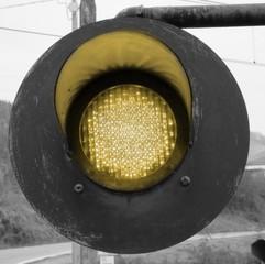 traffic light with yellow light