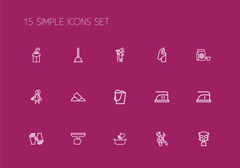 Set Of 15 Editable Cleaning Outline Icons. Includes Symbols Such As Medium Heat, Dangerous Reagent, Gloves And More. Can Be Used For Web, Mobile, UI And Infographic Design.
