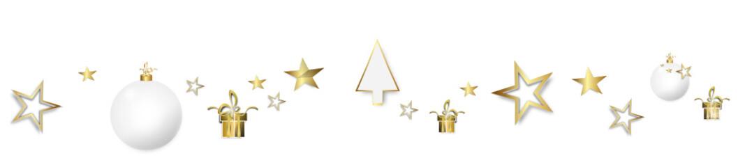 Stern Band Banner Hintergrund Gold Anhänger Geschenke Weihnachtskugeln Tannenbaum