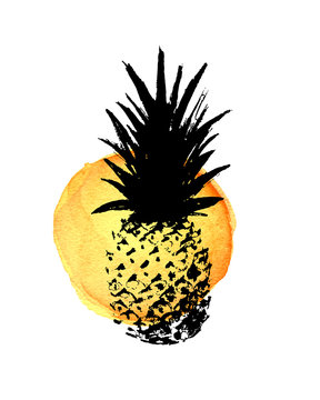 Stylish hand drawn grunge pineapple vector print with yellow watercolor background