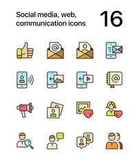 Colored Social media, web, communication icons for web and mobile design pack 2