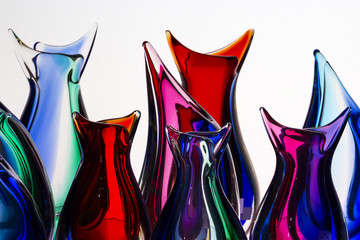 beautiful colorful murano glass handmade in venice, italy on the white background