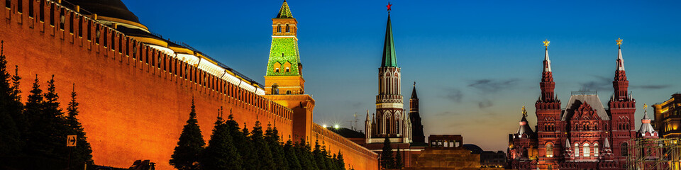 Illuminated Kremlin wall in Moscow, Russia at night