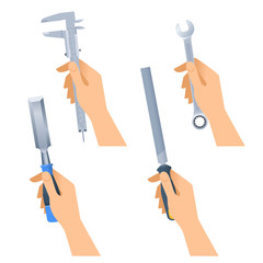 Human hands hold small tools: spanner, rasp, caliper, chisel. Flat illustration of male hands with construction and renovation home maintenance instrument. Vector design element set isolated on white.