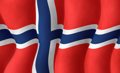Illustration of a flying Norwegian Flag
