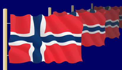 Raw of Norwegian flags on the flagpoles