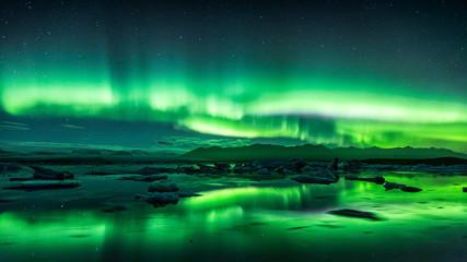 Foto auf Acrylglas Nordlicht Jokulsarlon Aurora