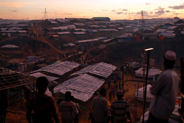 A view of the Kutupalong Rohingya refugee camp after sunset near Cox's Bazar