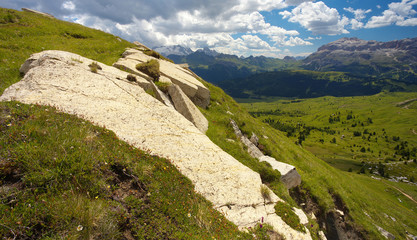 Stony blocks on the mountain meadow, Dolomites, Italy