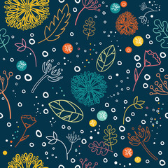 Floral seamless pattern. Colorful outline botanical elements. Cartoon flowers seamless background.