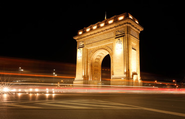 Poster de jardin Artistique The Triumphal Arch (Arcul de Triumf) in Bucharest, the capital of Romania. Historic monument