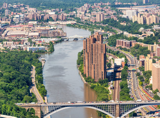 Helicopter view of New York Park and Bridge. New York City