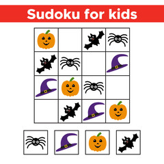 Halloween Sudoku game with funny picture for preschool kids. Logic and educational game. Vector illustration.