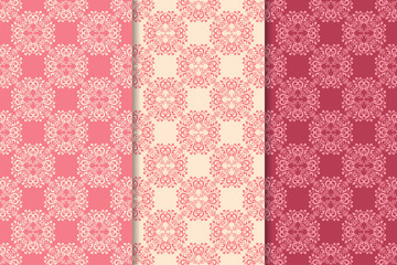 Set of floral ornaments. Cherry pink vertical seamless patterns