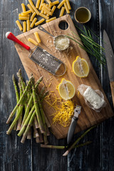 Ingredients for Pasta with Grilled Asparagus