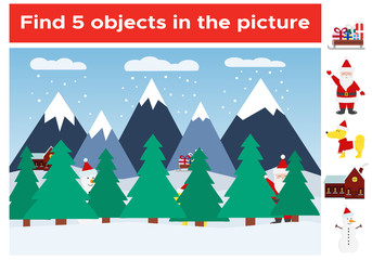 Find 5 objects in the Christmas picture. Winter landscape. Visual game for preschool children. Funny cartoon characters. New Year symbol - yellow dog. Vector illustration.