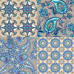Collection of blue seamless oriental ornaments with paisley. Floral wallpaper. Decorative ornament for fabric, textile, wrapping paper
