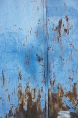 Detail of blue metal doorway, Provence, France
