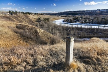 Landscape Panorama of Bow River Valley from Hiking and Cycling Trail in Bowmont Natural Park in Calgary Alberta Canada