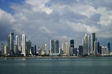Panama City skyline - view over Panama Bay from Cinta Costera