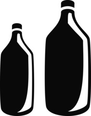 Two Bottles - Generic Plastic or Glass - Reflection Shadow