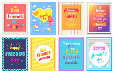 Happy Friendship Day Greeting Cards Colorful Set