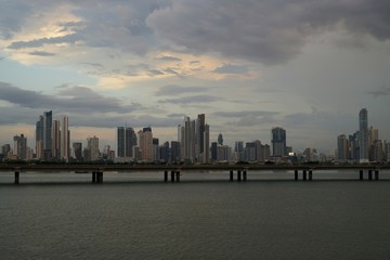 Twilight view of Panama City skyline from Old City with Cinta Costera