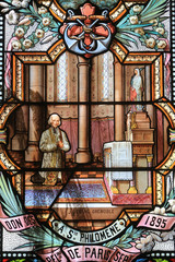 The Curé of Ars. Jean-Baptiste-Marie Vianney. St. John Vianney. Stained glass window. Shrine of Our Lady of la Salette.