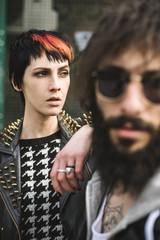 Young punk rocker couple portrait