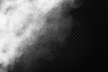 Vector realistic isolated smoke effect on the transparent background. Realistic fog vector illustration.