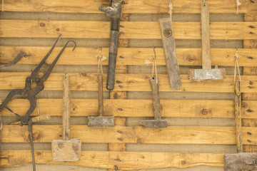 Traditional medieval sculpture tools in an old market in the fiestas of Alcalá de Henares, Madrid Spain