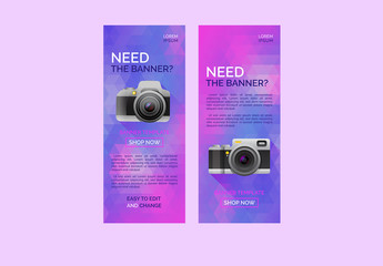 Web Banner Set with Camera and Abstract Triangle Shapes