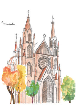 Hand painted church in Munich. Watercolor cathedral sketch on white background.
