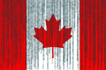 Data protection Canada flag. Canada flag with binary code.