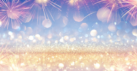 Wall Mural - Shiny Festive Banner With Firework - Golden Glitter In Blue Heaven