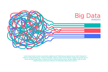 Big data vector illustration. Machine learning algorythm for information filter and anaytic in flat doodle style