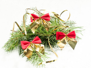 Christmas decoration on a white background. Copy space