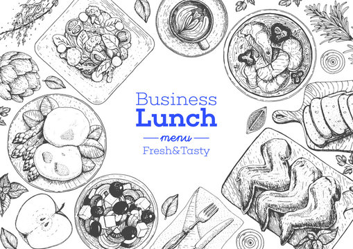 Business lunch top view frame. Food menu design. Vintage hand drawn sketch vector illustration.