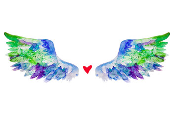 watercolor wings and a heart isolated on white background beautiful
